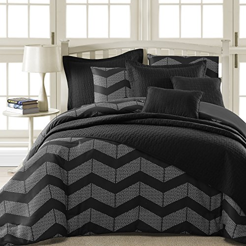 Comfy Bedding Spot Chevron Microfiber 5-Piece Comforter Set (King 5-piece, Black)
