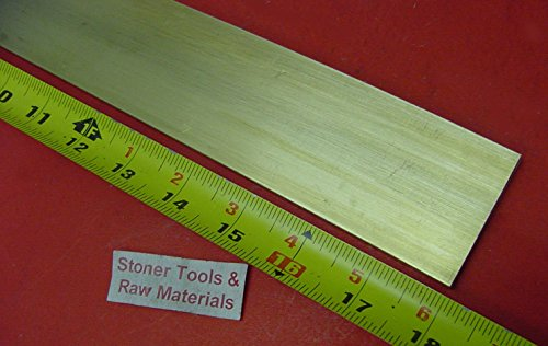 1/4'' x 2'' C360 BRASS FLAT BAR 18'' long Solid .250'' Plate Mill Stock H02 by Stoner Metals