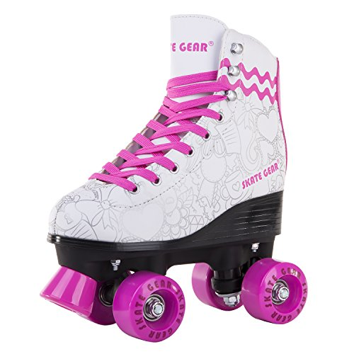 Cal 7 All-Purpose Indoor Outdoor Speedy Roller Skate for Youth and Adults (Graphic Pink, Men's 7 / Women's 8) (Adult Roller Skates)
