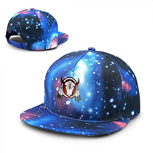 Native American Buffalo Skull Halloween Adjustable Snapback Hats Flat Brim Galaxy Print Tie Dye Baseball Cap -