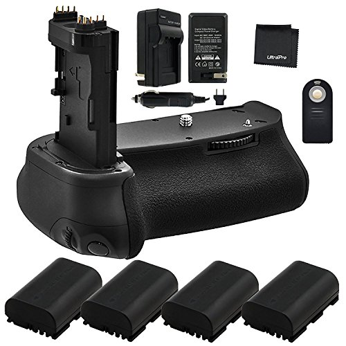 Battery Grip Bundle F/ Canon EOS 6D Mark II: Includes BG-E21 Replacement Grip, 4-Pk LP-E6 / LP-E6N Long-Life Batteries, Charger, UltraPro Accessory Bundle