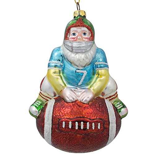 BestPysanky Santa Claus Football Player Sports Ball Glass Christmas Ornament 5 Inches ()