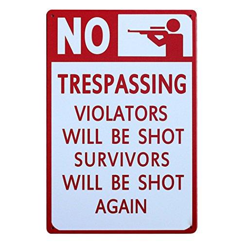 FLY SPRAY Decorative Signs Tin Metal Iron NO TRESPASSING Warning Sign Printed