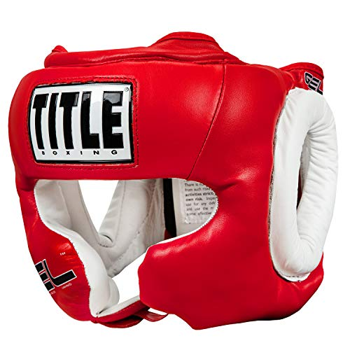 TITLE Gel World Full-Face Training Headgear, Red, Large