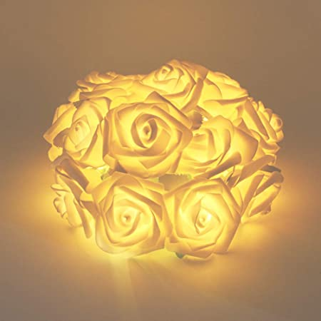 Waterproof Hanging String Lights Home Decoration 20 LED Simulate Rose Flower