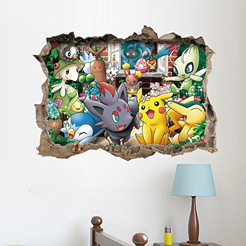 3D Pokemon Go Pikachu Art Vinyl Wall Decal Sticker Kids Nursery Home Room Decor (Names Of Monster High Characters)