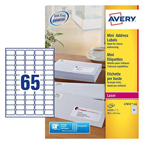Avery L7651-250 Self-Adhesive Mini Organising/Return Address Labels, 65 Labels Per A4 Sheet Avery UK