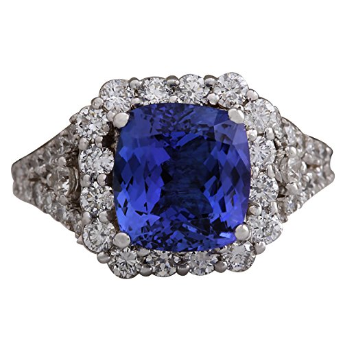 (4.89 Carat Natural Blue Tanzanite and Diamond (F-G Color, VS1-VS2 Clarity) 14K White Gold Luxury Cocktail Ring for Women Exclusively Handcrafted in USA)