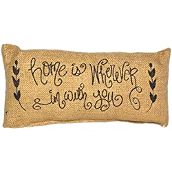 """Country House Collection Primitive Burlap Jute 12"""" x 6"""" Throw Pillow (Home is Wherever I'm With You)"""