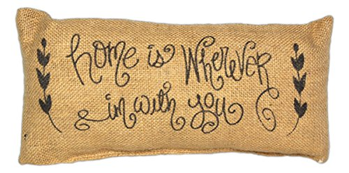 Country House Collection Primitive Burlap Jute 12  X 6  Throw Pillow  Home Is Wherever Im With You