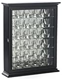 Displays2go Shot Glass Display Wooden Case with Glass Door, Black