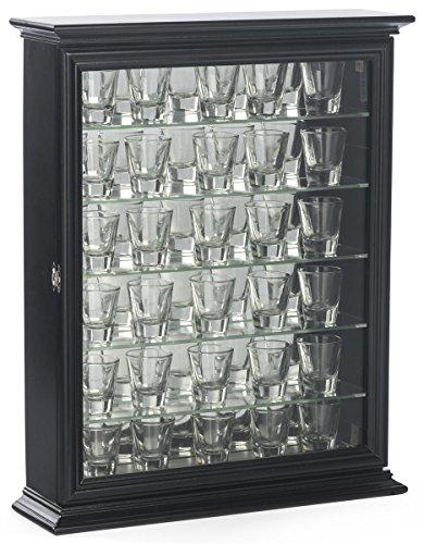 Displays2go Shot Glass Display Wooden Case with Glass Door, Black by Displays2go