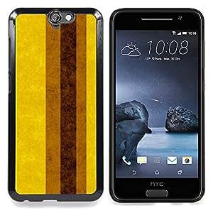 For HTC One A9 Case , Tierra Brown amarillas Líneas Rayas - Diseño Patrón Teléfono Caso Cubierta Case Bumper Duro Protección Case Cover Funda