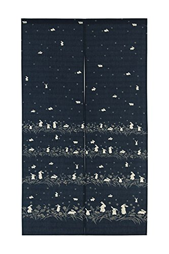 Japanese Noren Doorway Curtain Tapestry Navy blue, many rabbits with flowers ()
