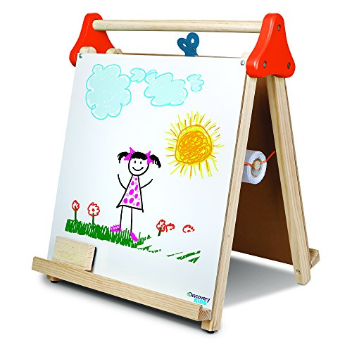 (DISCOVERY KIDS 3-in-1 Tabletop Dry Erase Chalkboard Painting Art Easel, Includes Paper Roll and Oversized Clip, 17 x 15 Inch Wood Frame, Perfect for Children 3+ | Foldable/Portable for Countertop Play )