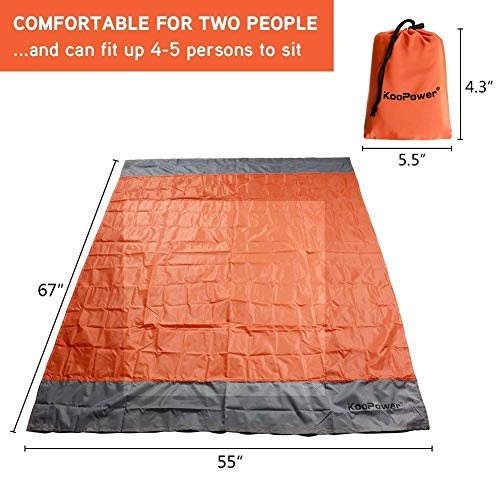 Koopower Large Outdoor Blanket Waterproof Portable Oversized Sand Proof Picnic Mat for Travel, Hiking, Camping, Festival, Sports (55″x 67″)