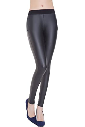 Everbellus Black Faux Leather Leggings for Women Stretch Leather Pants Small 7681fdc2e