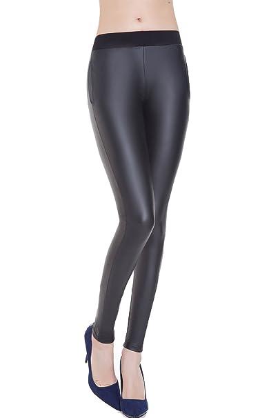 da50417e008b Everbellus Sexy Pelle Leggings Push Up Nero Pantaloni Elastico per Donna  con Tasca: Amazon.it: Abbigliamento