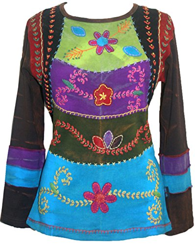 Agan Traders 255 Rib Cotton Funky Embroidered Bohemian Gypsy Top Blouse (Medium, Purple - Top Embroidered Gypsy
