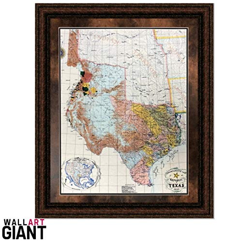 Wall Art Giant ANTIQUE AND HISTORIC ART - 1845 REPUBLIC OF TEXAS MAP - DOUBLE MAT - 38X44 ()