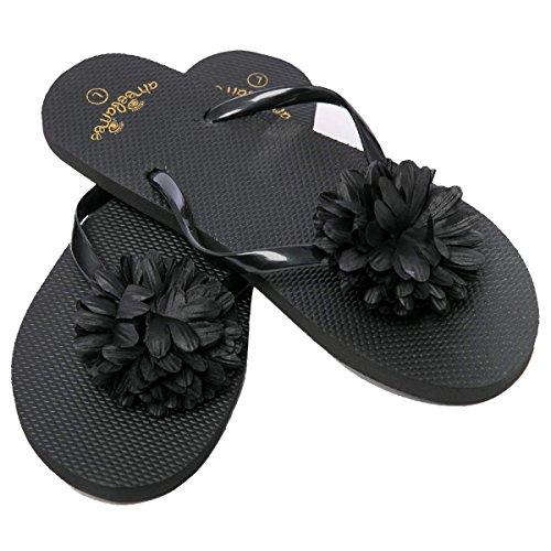 Zehentrenner Damen Flip Flops Mädchen Sommer Sandalen Blume Schwarz