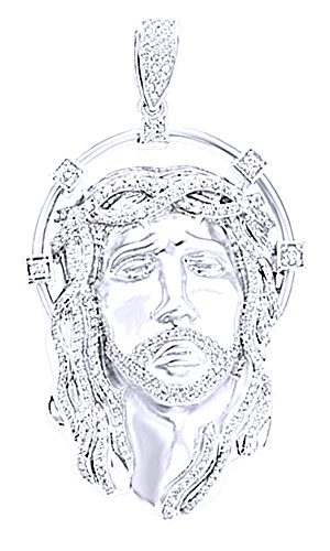 Wishrocks 3.55 Ct Round White CZ Hip Hop Men's Jesus Face Pendant in 14K Gold Over Sterling Silver by Wishrocks