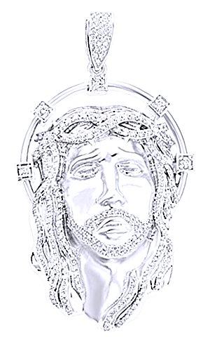 Wishrocks 3.55 Ct Round White CZ Hip Hop Men's Jesus Face Pendant in 14K Gold Over Sterling Silver by Wishrocks