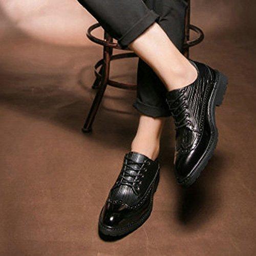 accento Xianshu stile scarpe lacci britannico Nero 1xqw0xaZ