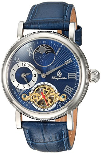 Burgmeister Men's Automatic Stainless Steel and Leather Casual Watch, Color:Blue (Model: BM226-133)