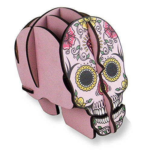 DIY Pink Wooden Skull Creative Organizer Office Desk Pen Holder|Stand|Container for Girl|Woman Birthday Gift - Tidy Guritta Skeleton Handmade Pencil Caddy - Cool Stationery Home Table Makeup Brush - Wooden Cool Stuff