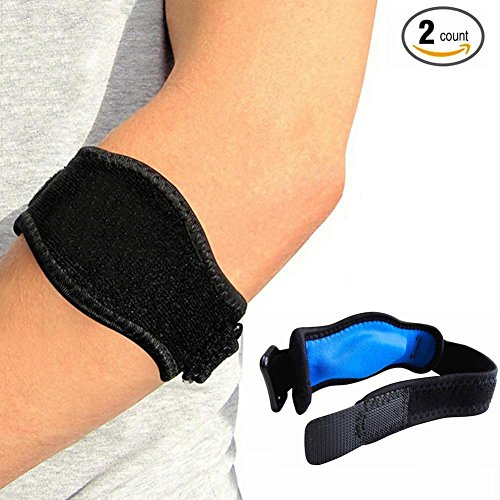 (Tennis & Golfer Elbow Brace with Compression Pad for Men and Women - Elbow Band for Elbow Tendonitis, Great Support for Injured Arms & Pain Relief by Vitoki (2-count))