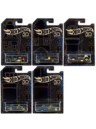 Hot Wheels 50th Anniversary 1:64 Black & Gold Series 5pcs Diecast Model Cars - Bone Shaker, Twin Mill, Rodger Dodger, Dodge Dart and Impala from Hot Wheels