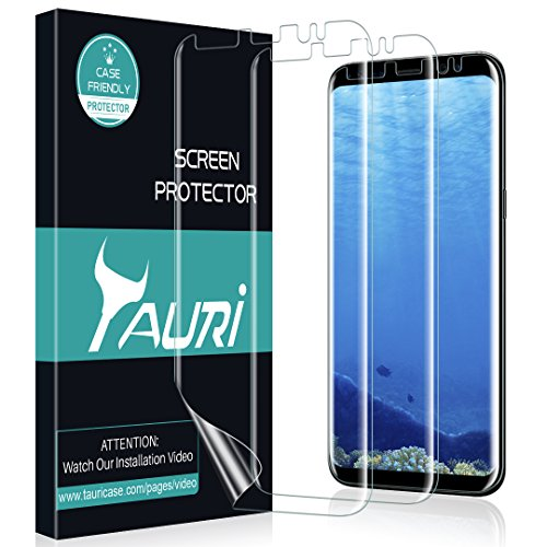 [3-Pack] TAURI for Samsung Galaxy S8 Plus Screen Protector, Full Coverage Liquid Skin Screen Protector Case-Friendly Anti-Bubble HD Clear Flexible Film, Lifetime Replacement Warranty