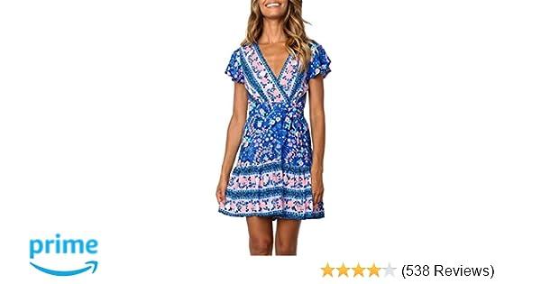 0bd26e0cdbe4 ZESICA Women's Summer Wrap V Neck Bohemian Floral Print Ruffle Swing A Line  Beach Mini Dress