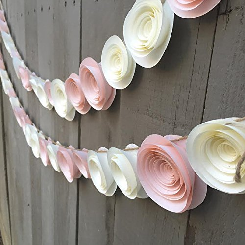 Paper Flower Garland Pink & Cream white for Wedding, Reception, Bridal Shower, Baby Shower , Peach Pink Ivory white Paper Flower Streamer 4 feet