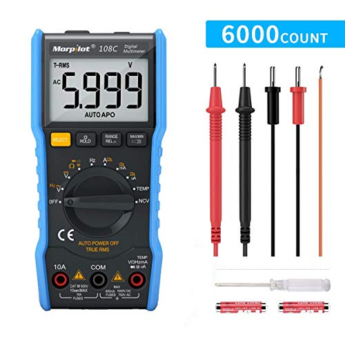 Digital Multimeter,TRMS 6000 Counts Manual and Auto Ranging, Amp Volt Ohm DC/AC Current & Voltage Multimeter, NCV, Live Line, Diode, Resistance, Frequency, Capacitance, Temperature, Test Leads.