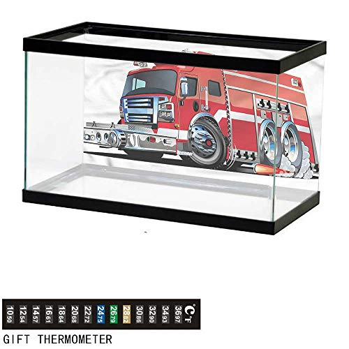 """bybyhome Fish Tank Backdrop Cars,Fire Truck Rescue Team,Aquarium Background,24"""" L X 24"""" H(61x61cm) Thermometer Sticker"""