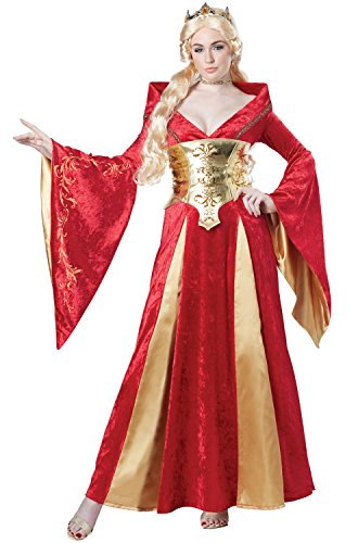California Costumes Women's Medieval Queen Costume, Red/Gold,