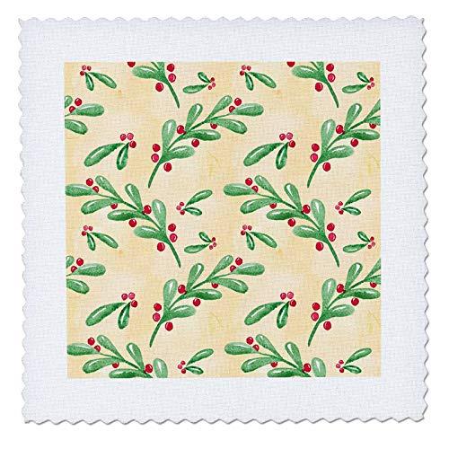 3dRose Anne Marie Baugh - Christmas - Cute Image Of Watercolor Mistletoe Sprigs Pattern - 12x12 inch quilt square (qs_318527_4)