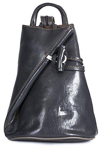 LiaTalia Bolso de Hombro Convertible con Tiras, Bolso de Cuero Italiano con Bolsa de Almacenamiento Protector - Brady (Pequeño/Mini) Gris Oscuro