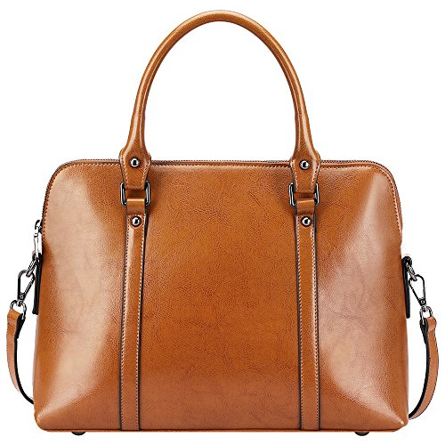 S-ZONE Women's Cow Leather Handbags Slim Briefcase Purse Shoulder Bags Tote Bags
