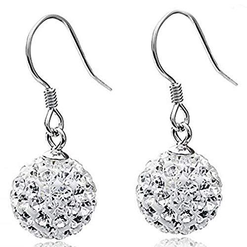 leelly Solid Silver S925 Disco Ball Crystals Earrings Dangle Hook Earrings for Women Girls (style01-White)