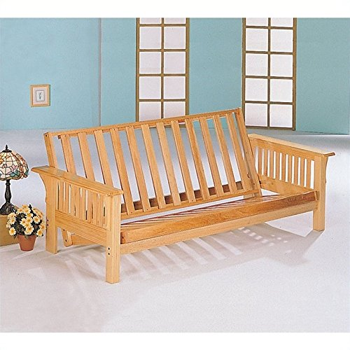 Futon Frame Casual (Coaster Casual Weathered Oak Futon Frame with Slat Side Detail)