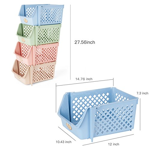 Titan Mall Storage Bins Plastic Stackable Storage Bins for Food, Fruits, Files, Mixed Color Storage Baskets, 15 X 10 X 7 Inch/bin, Blue-Green-Pink-Khaki, Set of 4 by Titan Mall (Image #7)