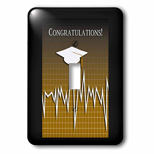 Beverly Turner Graduation Design - Medical Theme, Congratulations, Heart Beat Graph, Graduation, Cap, Gold - Light Switch Covers - single toggle switch (lsp_234545_1) by 3dRose