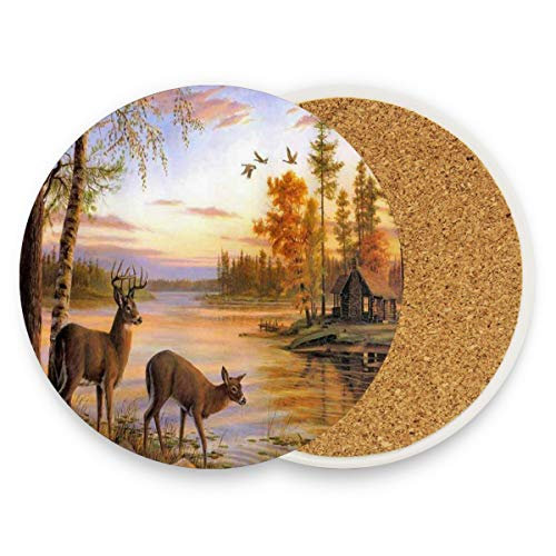 LoveBea Deer Wallpaper Coasters, Protect Your Furniture from Stains,Coffee, Wood Coasters Funny Housewarming Gift,Round Cup Mat Pad for Home, Kitchen Or Bar Set of 2 ()