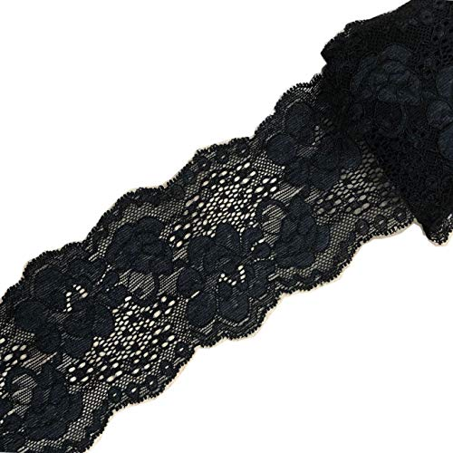 (10 Yards Stretch Lace Ribbon Trim 3 inch Floral Pattern Lace Elastic for Headbands Garters Sewing Decorat Craft Supply (Black))