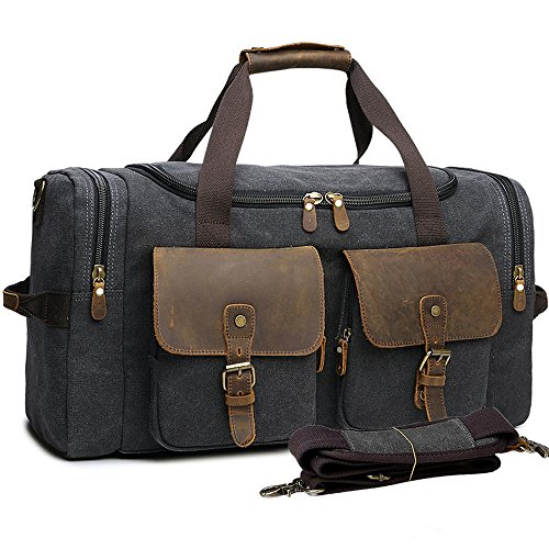 Leather Vintage Carry On (BLUBOON Weekender Overnight Duffel Bag Canvas Travel Duffle for Men Womens Travel Tote Carry on Bag (Black - 44L))