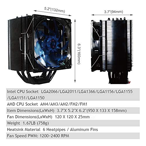 ABATAP CPU Cooler with 6 Pure Copper Heatpipe Radiator, Maximum Efficiency CPU Air Cooler with Blue LED Light PWM Fan for AMD/Intel CPU's Heatsink (6 Heat Pipes, AB-6000) by ABATAP (Image #5)