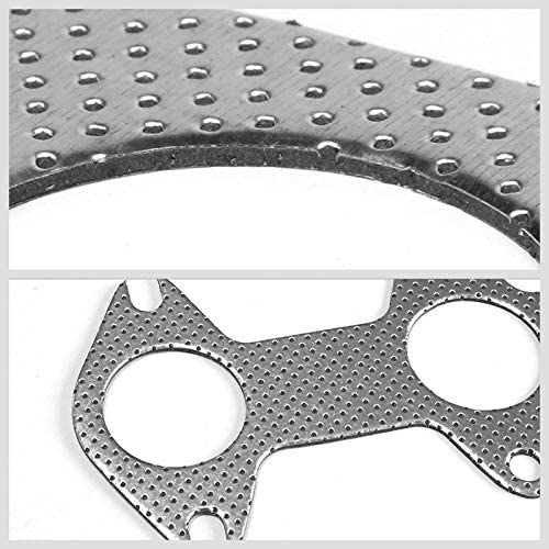 Works With 04-10 Ford F-150 5.4L SOHC Aluminum Graphite, Steel Bolts//Studs, Silver Exhaust Gasket